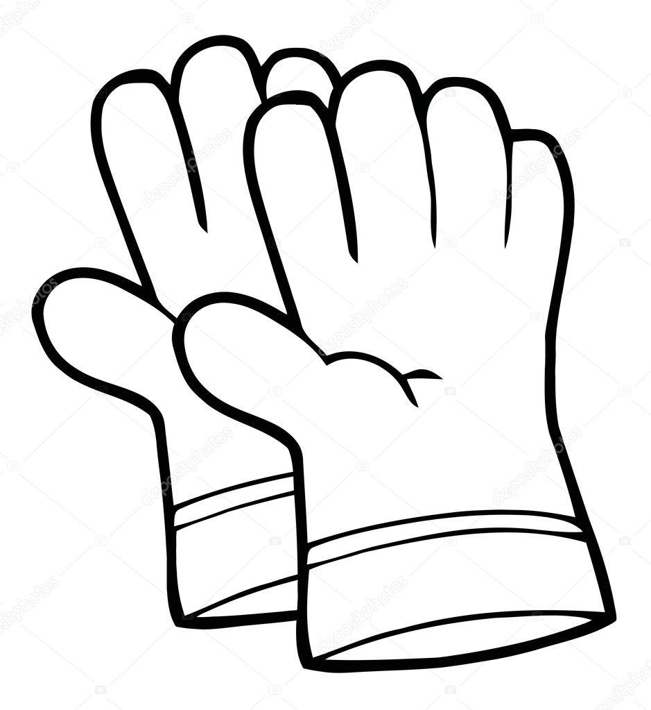 esquisse d u0026 39 une paire de gants de jardinage main