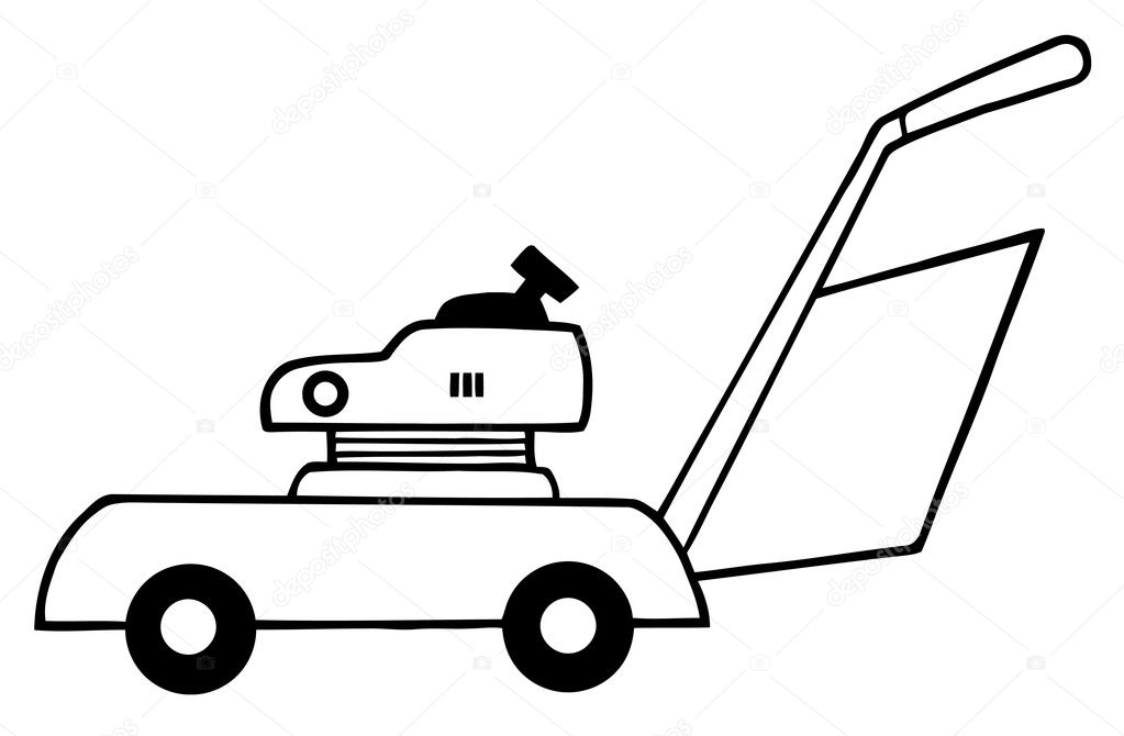 outlined lawn mower  u2014 stock photo  u00a9 hittoon  4724980