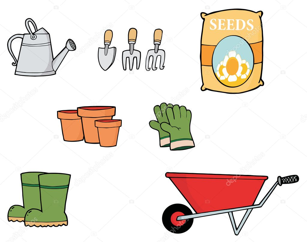 Digital Collage Of Gardening Tools — Stock Photo #4724997