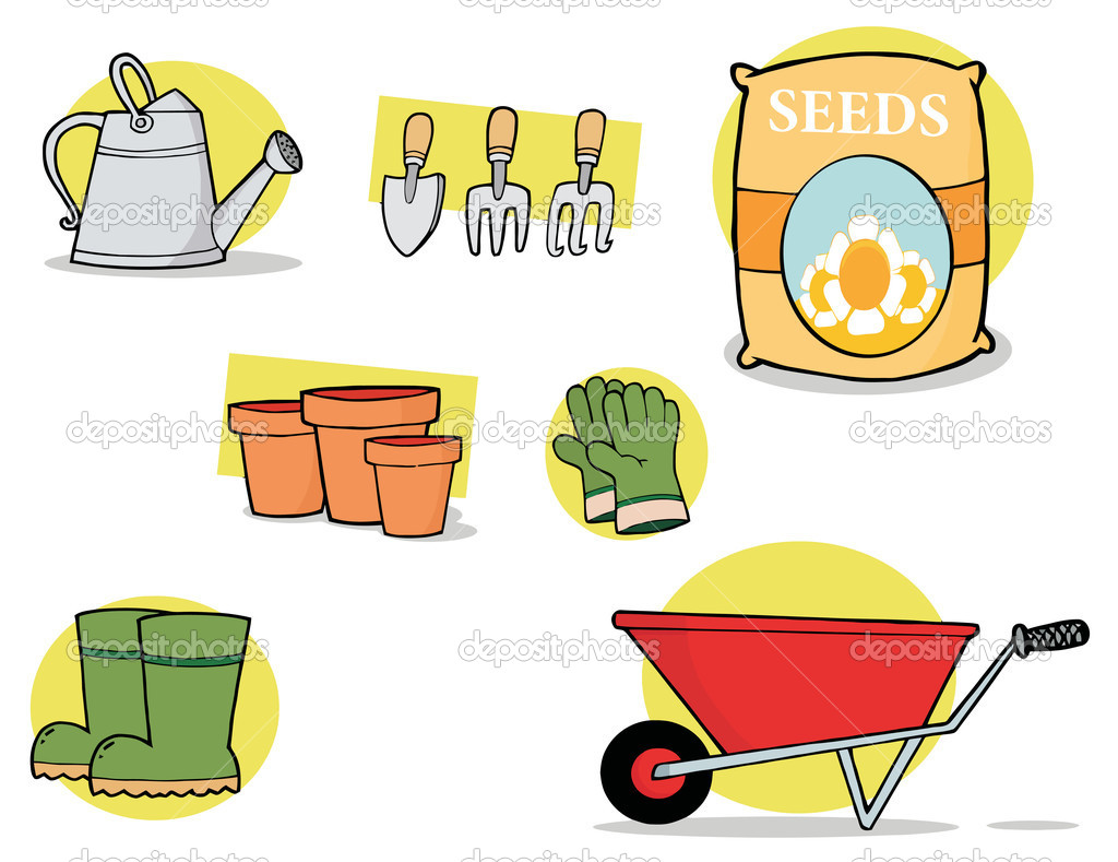 Digital collage of garden tools stock photo hittoon for Gardening tools cartoon