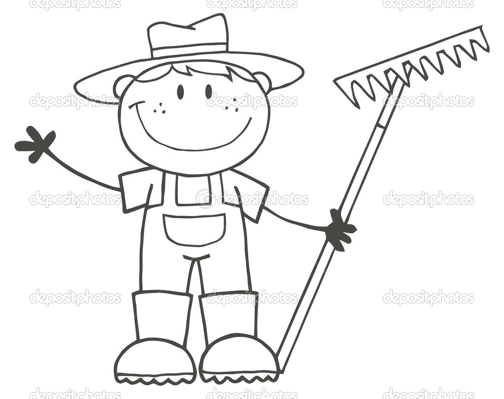Outlined farmer boy holding a rake and waving stock for Rake coloring page