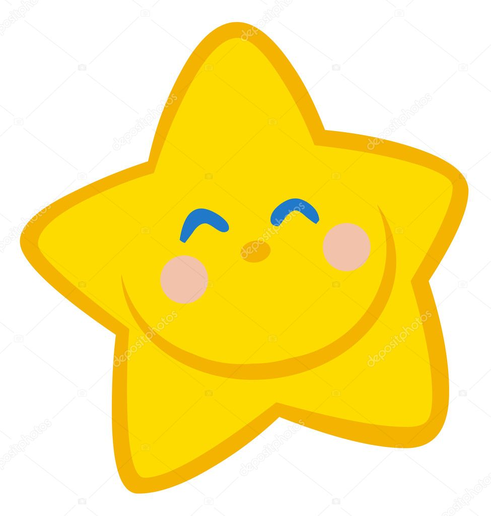 Happy Grinning Yellow Star Face — Stock Photo #4725372
