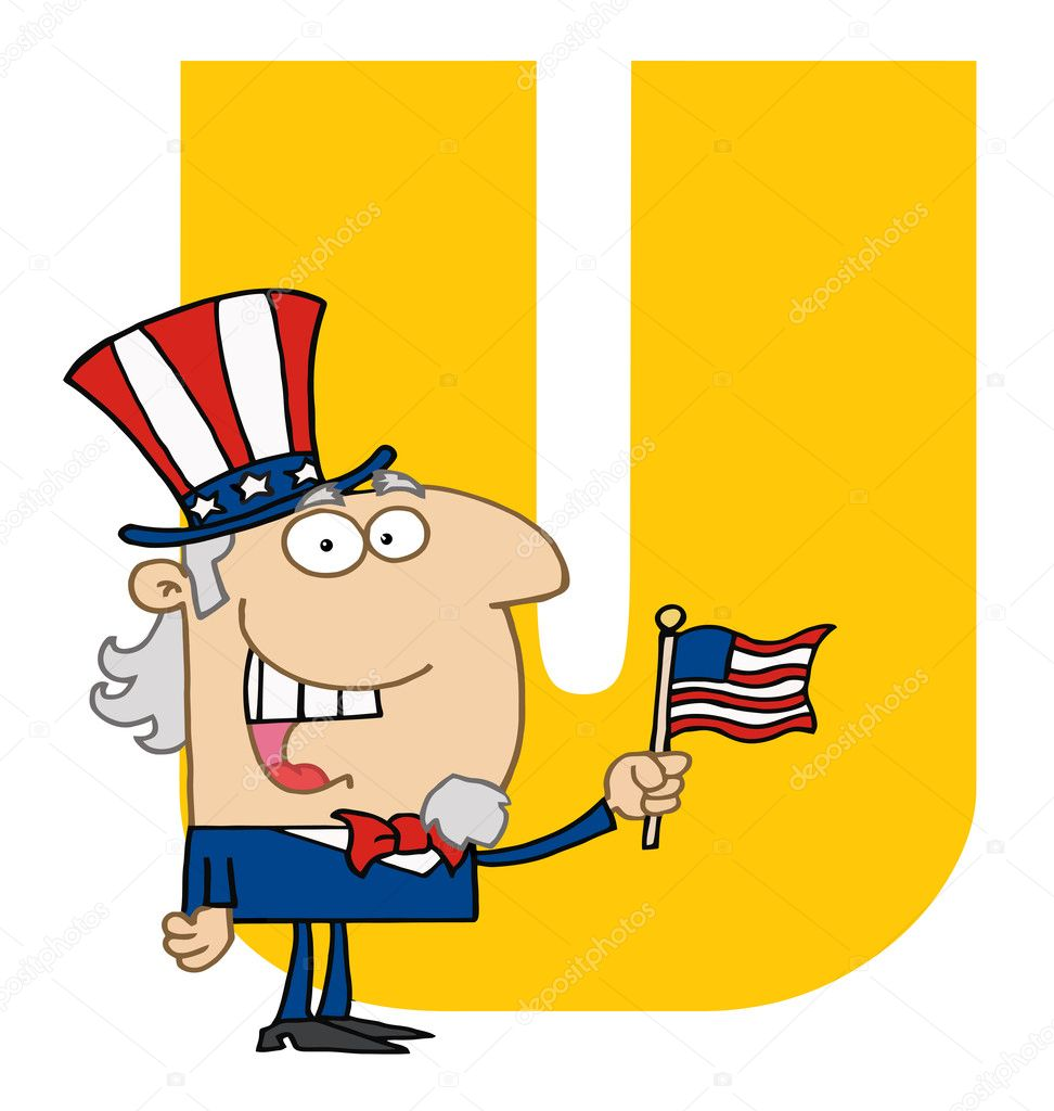 Letter u with uncle sam — stock photo hittoon
