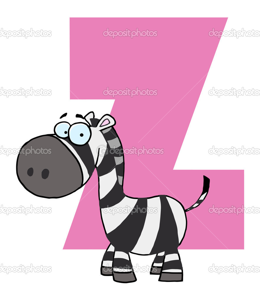 A Z Cartoon Characters : Letter z with a zebra — stock photo hittoon