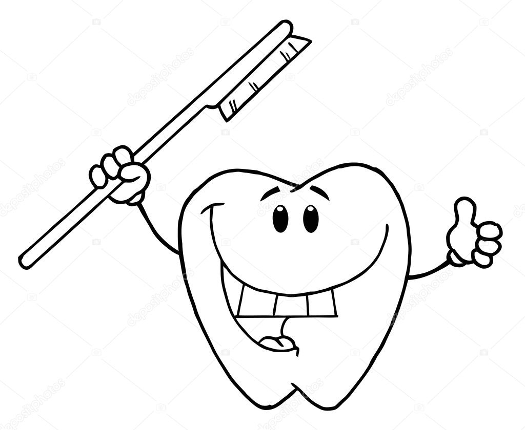 Tooth And Brush Colouring Pages
