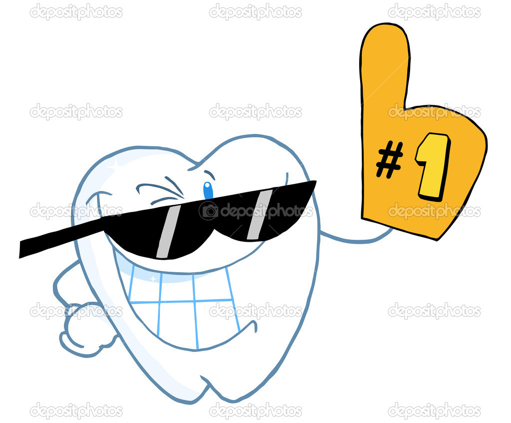 Dental Tooth Character Wearing Shades And Wearing A Number One Fan Glove — Stock Photo #4726019