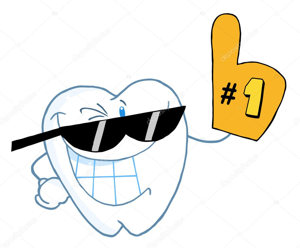 1 Toothed Cartoon Characters : Smiling tooth cartoon character number one — stock photo