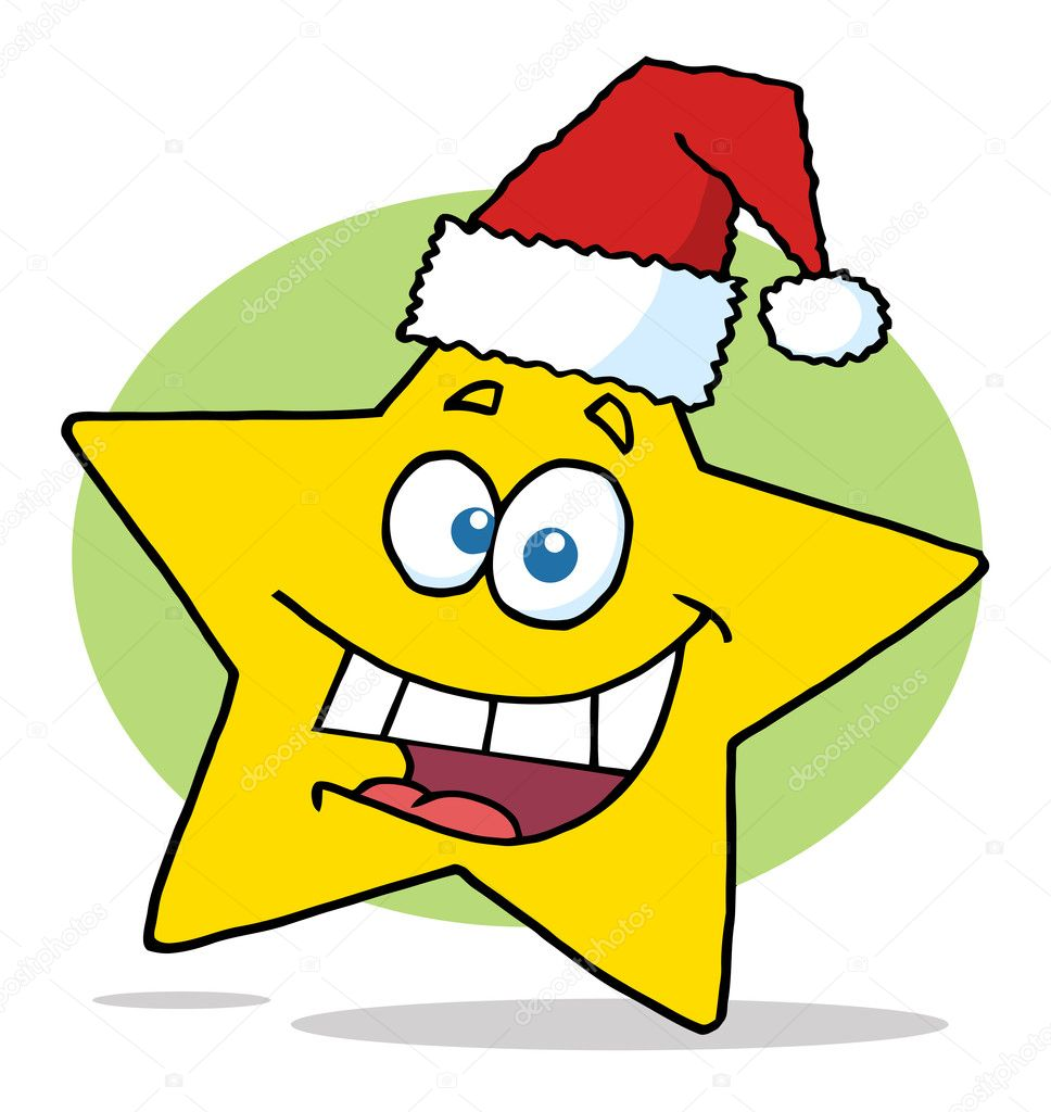 Happy christmas star cartoon character smiling — stock