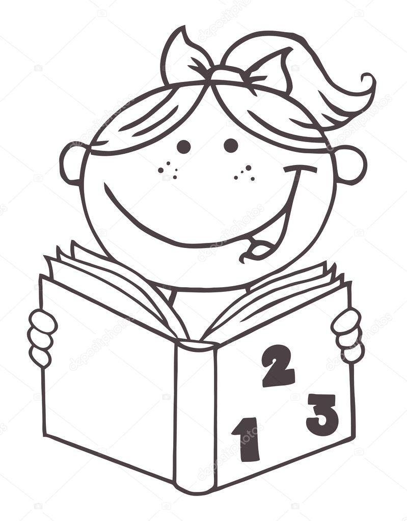 Раскраска девочка читает - 7