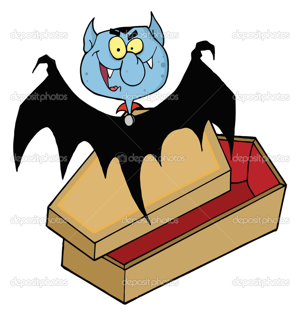 Vampire Bat Flying Above A Coffin Cartoon Character  — Stock Photo #4726757