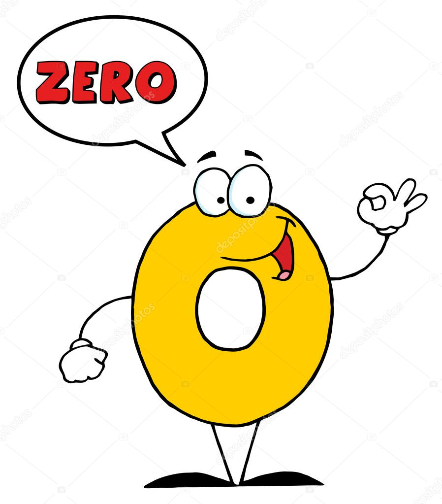 Number Zero Character ... Zero Cartoon Character