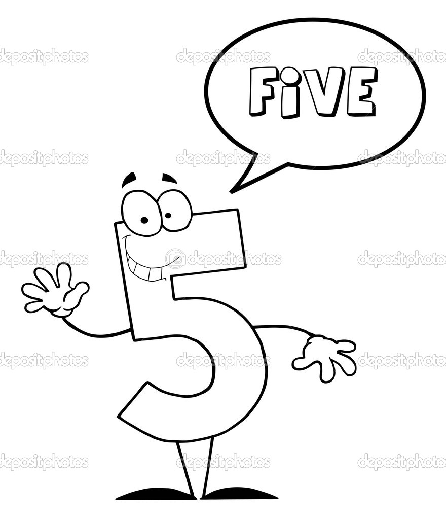 Coloring Page Outline Of A Number Five Character Saying Five   Foto Stock #4727396
