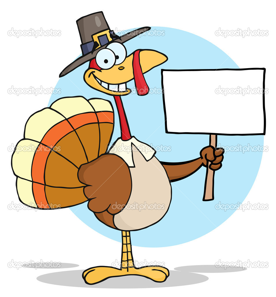 Happy Thanksgiving Pilgrim Turkey Bird Holding A Blank Sign   Stock Photo #4727538