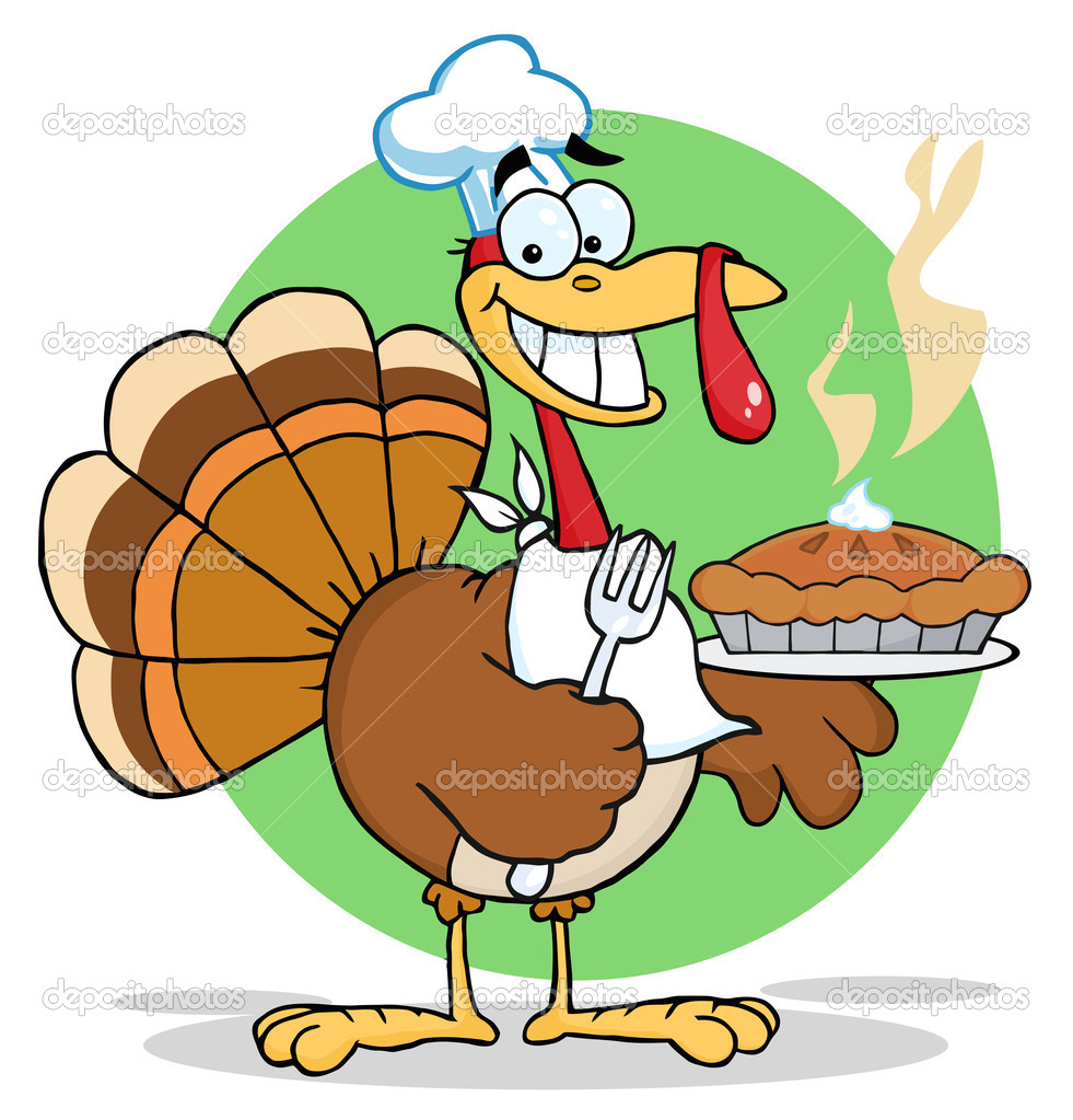 Happy Turkey Chef With Hot Pumpkin Pie Cartoon Character  — Foto Stock #4727546