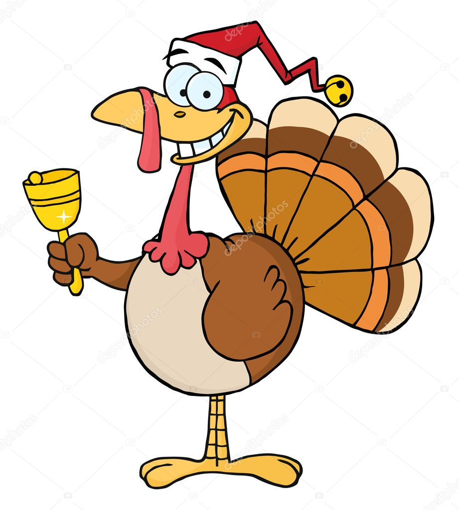 Turkey Cartoon Character Ringing A Bell  — Stock Photo #4727771