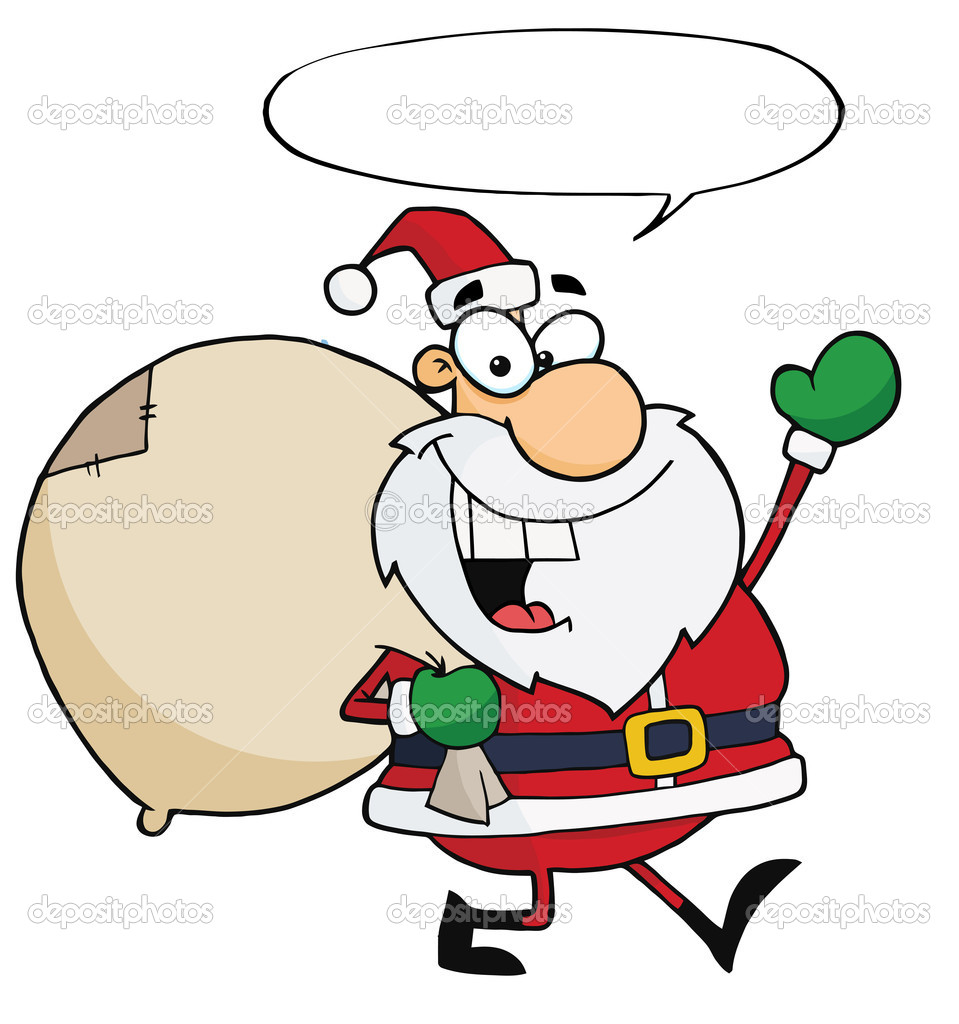 Text Bubble Toys For Tots : Santa waving and walking with his toy sack speech