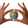 Womans hands holding small world Globe Planet Business — Stock Photo