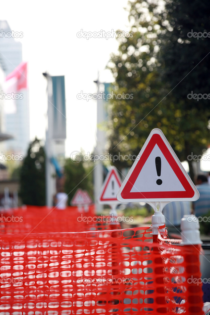 Traffic repair sign, roadworks - Transportation - Caution - Danger  — Stock Photo #4939602