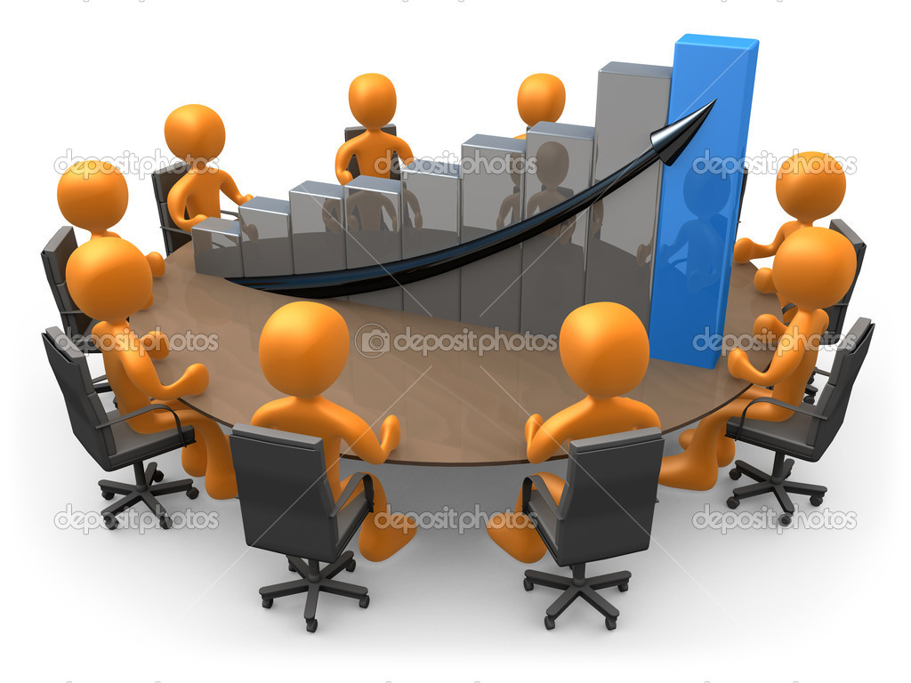 3D doing a meeting on a table with a large graph. — Stock Photo #5271043