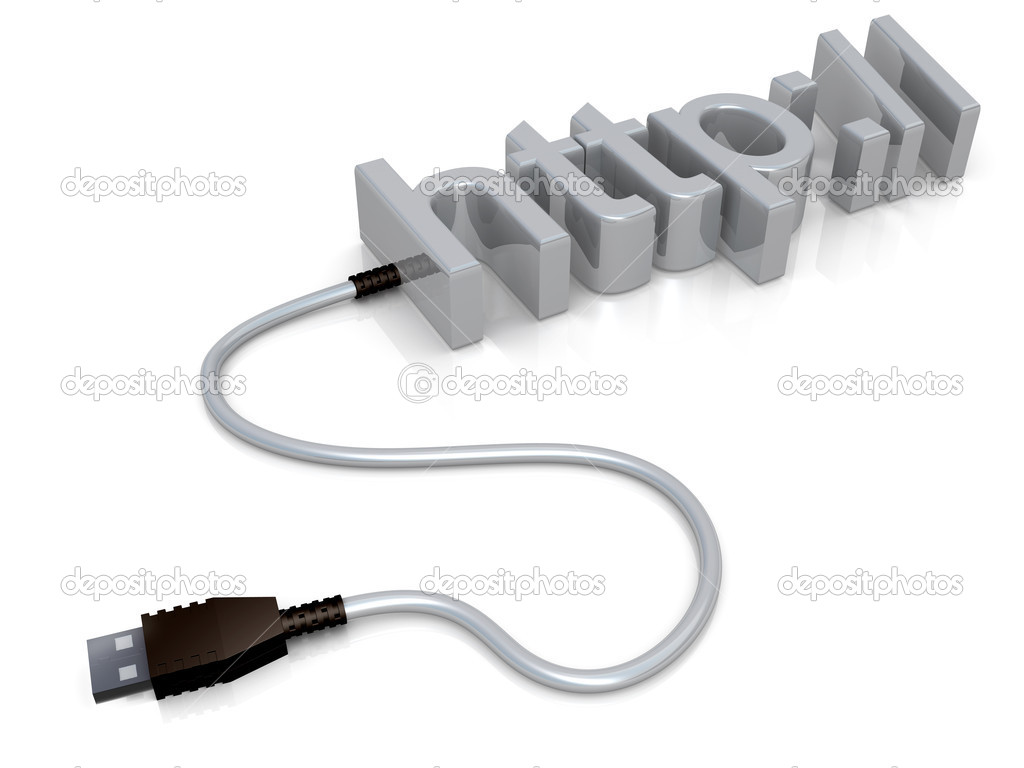The word http with a usb cable attached to it.  Stock Photo #5279889