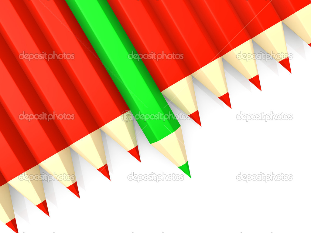 A row of red pencils and a green pencil standing out. — Stock Photo #5293296