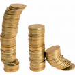Three coins pillars — Stock Photo