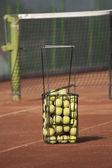 Basket with tennis balls — Стоковое фото