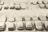 Car park under snow — Stock Photo