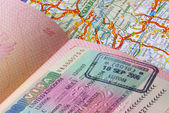 Passport and a europe road map — Stock Photo