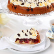 Cherry sponge cake with cream - Stock Photo