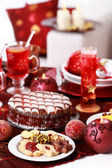 Christmas cookies with marchpane cake and wine punch — 图库照片