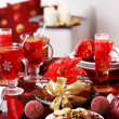 Christmas cookies with marchpane cake and  wine punch — Stock Photo