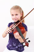 Pequeño violín juego chica — Foto de Stock