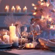 Place setting for Christmas - Stock Photo