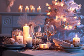 Place setting for Christmas — Stok fotoğraf