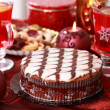 Marchpane cake with wine punch and cookies — Stock Photo