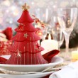Table setting for Christmas — Stock Photo #4405605