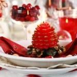 Table setting for Christmas — Stock Photo
