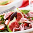 Vegetable salad with fresh figs - Stock Photo
