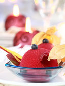 Red currant sorbet for Christmas — Stock Photo