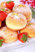 Berliner - doughnut filled with strawberry jam — Stock Photo
