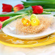 Easter place setting — Stock Photo
