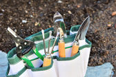Detail of gardening tools in tool bag - outdoor — Stock Photo