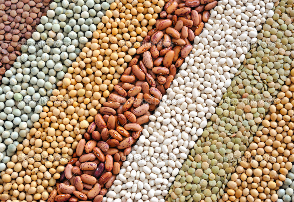 Mixture of dried lentils, peas, soybeans, beans  - background — Stock Photo #4454739
