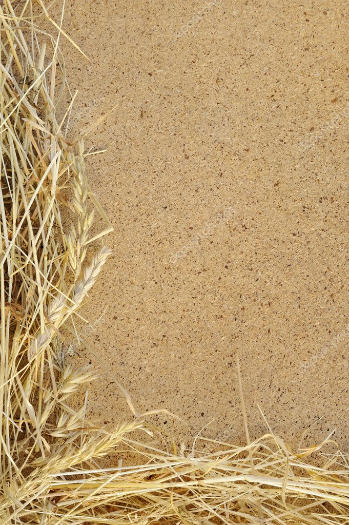Detail of dry grass hay and OSB, oriented strand board  - frame — Stock Photo #4604617