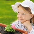 Little girl   gardening — Stock Photo