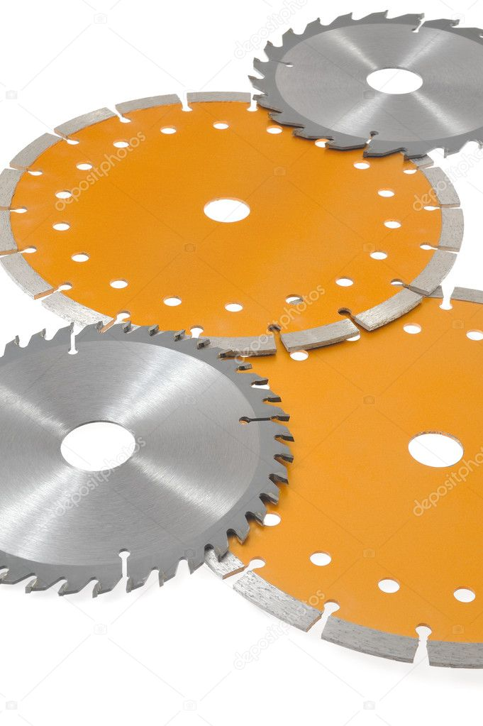 Circular saw blades isolated on white — Stock Photo #5206829