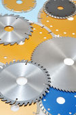 Collection of circular saw blades — Stock Photo