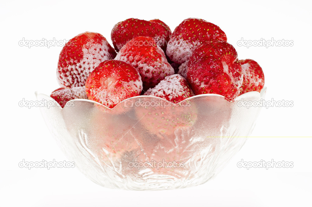Strawberry sliced in a glass holder, isolated on white background  Stock Photo #4464828