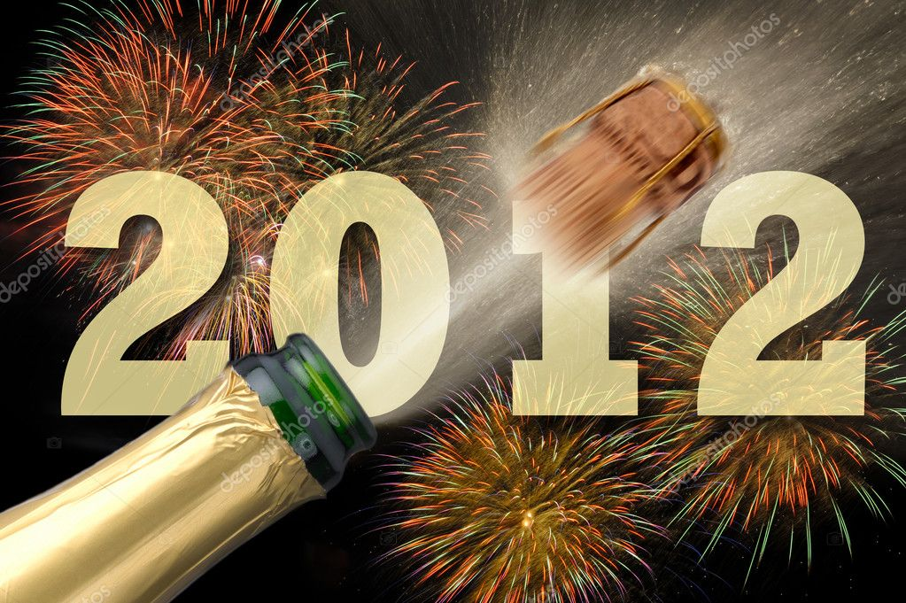 happy new year 2012 with fireworks and champagner — Stock fotografie #4721638